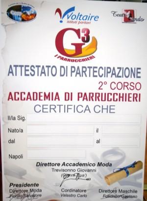 attestato accademia G3 parrucchieri