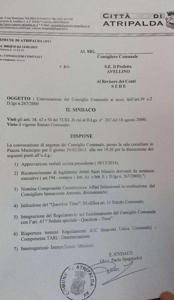Consiglio comunale del 19 febbraio