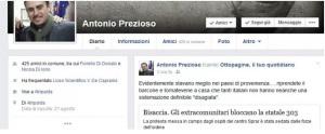 Post su Facebook di Antonio Prezioso sul razzismo