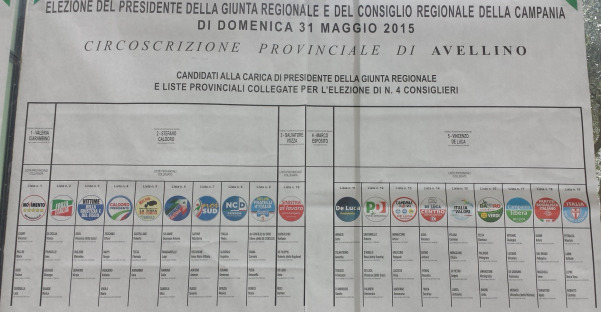 Elezioni regionali 2015, liste