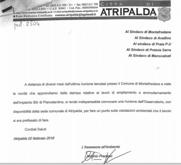Comunicazione del 02.02.2016 a firma dell'assessore Prezioso