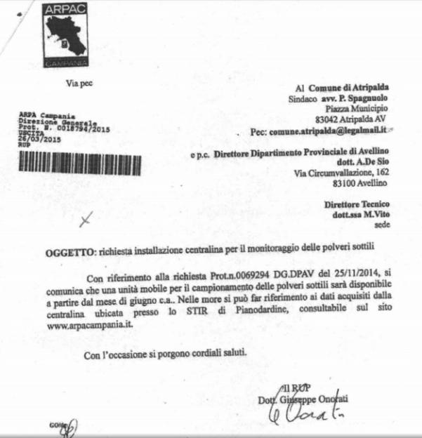 comunicazione di riscontro Arpac del 25.03.2015