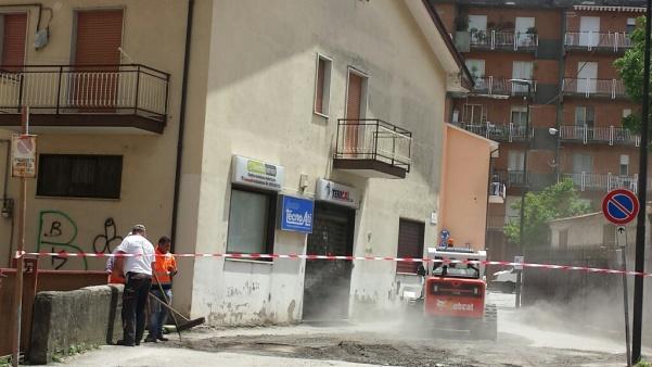 Lavori rifacimento strade in centro1 via Gramsci