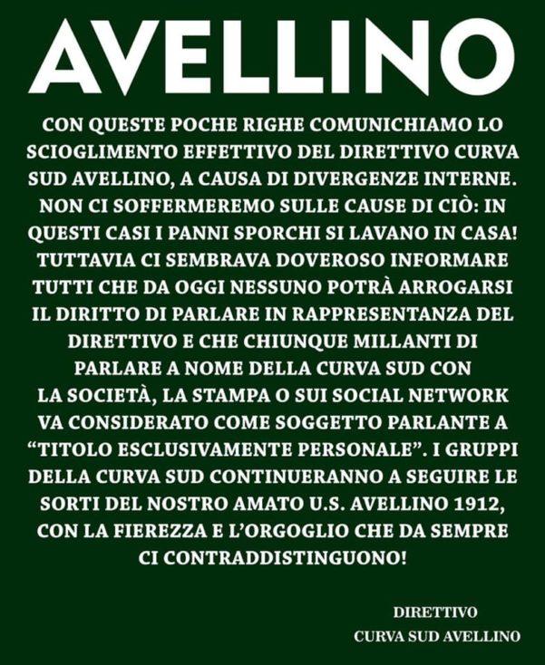Si è sciolto il Direttivo della Curva Sud Avellino - Atripalda News